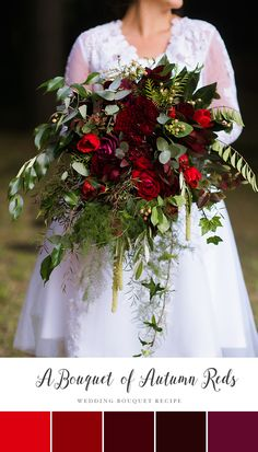 A Romantic Autumn Red Bridal Bouquet // Photography ~ Natalie McNally