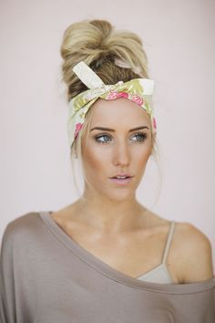 Dolly Bow Floral Tie Up Headscarf Headband Bandana Hair Accessory Boho Head Wrap Tie Bandana Headband in Yellow and Pink Peony (HB-93)