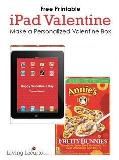make a personalized valentines day card holder with a free printable ipad valentine and a cereal - Spongebob Valentines Day Cards