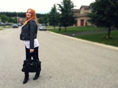 Leather jacket. Fall. 2015 bag Kate spade Kate Spade Bag, Fall 2015, Bomber Jacket, Leather Jacket, Jackets, Bags, Fashion, Studded Leather Jacket, Down Jackets