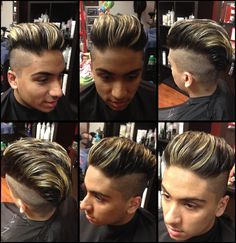Men's undercut haircut. Highlights. Blonde. Studio d hair salon