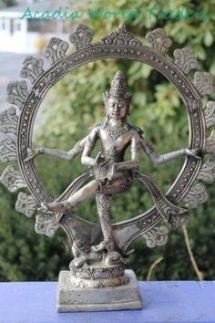 Shiva Nataraja - Lord of the Dance Sculpture Hindu Art statue hand cast  from bronze with a silvered overlay in Bali by skilled master craftsmen who learned t