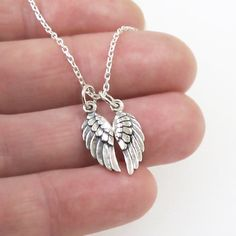 Angel Bird Wing Charm Necklace  Tiny Sterling Silver by DJStrang