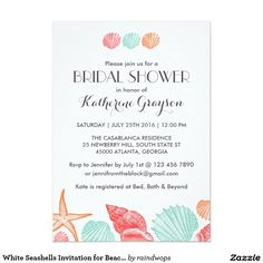 Personalized seashells bridal shower invitation. Available at Boardman Printing.