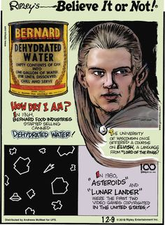 For December 2019 Dehydrated Water, Ripley Believe It Or Not, Unusual Things, Food Industry, Comic Strips, Fun Facts, Amazing Facts, December, Cartoons