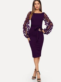 Flower Applique Mesh Sleeve Form Fitting Dress 10d816247