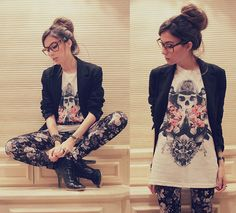 edgy outfit ...dislike the heels change to combat boots and maybe a different blazer to a cardigan and a beanie :3.