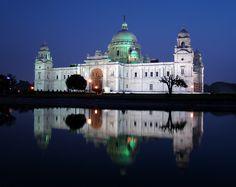 Victoria Memorial Hall, Kolkata, at dusk.