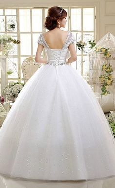 Cheap and Pretty Double Shoulder Wedding Dress Ball Style! || More at http://www.cutedresses.co/product/wedding-dress-floor-length-ball-gown