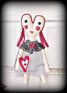 Primitive Folk Art Raggedy Valentine Heart by FosterChildWhimsy