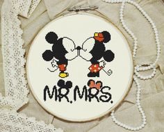 Modern Cross stitch pattern Little mickey mouse and mini mr and mrs Disney Instant PDF Download Cross Stitch Chart Embroidery Needlework