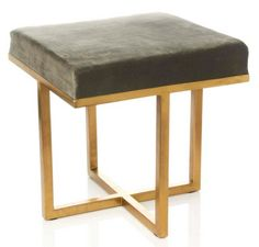 Nate Berkus upholstered stool for HSN.  Great combination of grey and gold.