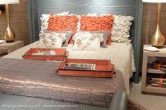 Sophisticated Charcoal Gray & Orange Bedroom Design - Decorating Diva