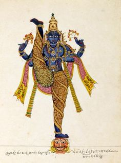 Opaque watercolour painting of Vamana in his gigantic form Trivikrama. Mysore Painting, Tanjore Painting, Onam Wishes, Indian Art Paintings, Mughal Paintings, Indian Folk Art, India Art, Hindu Deities, Krishna Art