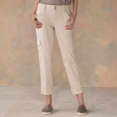 """TERRAIN CROP PANTS--Sanctuary's signature surplus style crop pants, updated in a soft wash with classic pocket details and drawstring hems. Cotton/spandex. Machine wash. Imported. Sizes 26 to 32. 26"""" inseam."""