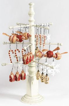 DIY ornament/jewelry display from a table leg