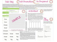 A kit for success for every classroom sub.  Tips, printables, and ideas to promote yourself as a sub!