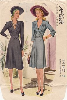 36 Bust McCall Dress Pattern with Bodice Gathers by dressity 40s Mode, Retro Mode, Vintage Mode, Look Vintage, Motif Vintage, Vintage Dress Patterns, Clothing Patterns, Vintage Outfits, Vintage Wardrobe