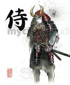 PRINT Samurai Japanese Calligraphy with Painting of Samurai in Armor