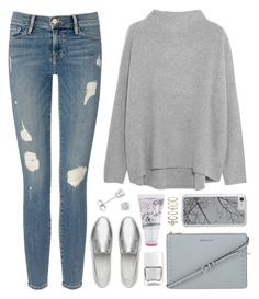"""OOTD - Gray Sweater"" by by-jwp ❤ liked on Polyvore featuring Vince, Frame Denim, FitFlop, Amanda Rose Collection, MICHAEL Michael Kors, Nails Inc., too cool for school and Accessorize"