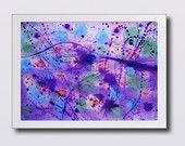 Purple Lilac Blue Large Wall Decor Print - Colorful Watercolor Painting - Landscape Contemporary Art - Home decor