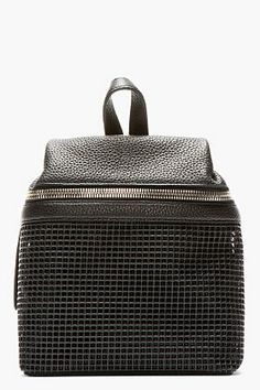 KARA Black Pebbled Leather & doubled mesh Small Backpack