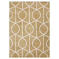 Hand-tufted wool and art silk rug with a lattice motif.  Product: RugConstruction Material: Wool and art silkColor: GreenFeatures:  Plush pileTextured  Note: Please be aware that actual colors may vary from those shown on your screen. Accent rugs may also not show the entire pattern that the corresponding area rugs have.Cleaning and Care: Vacuum regularly. Blot spills immediately with cold water. Periodic professional cleaning is recommended.