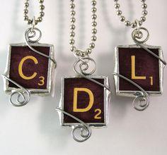Burgundy Scrabble Letter Pendant by XOHandworks.com $20