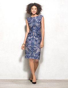 Abstract Scuba Sheath Dress