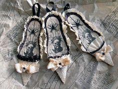 black & white Halloween slipper