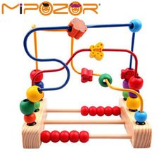 MIPOZOR Kids Child Bead Roller Coaster Maze Puzzle Toy Wooden Bead Maze Early Educational Toy For Baby Kids Children Toy