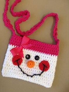 Oh so Cute Cotton Crochet girls snowman purse by sweetandhandmade happy pink snowgirl winter purse cute gift for girls