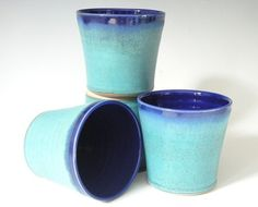 Beverage Tumblers  Made to Order  Turquoise by clearmountaincraft, $60.00  You'll never use a regular glass again! These beverage tumblers the best for any type of drink - water, milk, juice and of course, wine. These four tumblers were hand thrown, glazed and fired by me in my home studio using a beautiful turquoise and cobalt blue color combination.