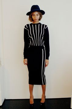 Beyonce + black and white + chanel + stripes + midi dress