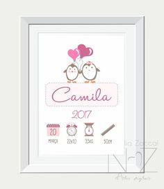 Quadro digital nascimento - pinguim Baby Girl Gift Baskets, Baby Girl Gifts, Designer Baby, Kids Room Design, Baby Design, Diy Org, Baby Frame, Baby Room Decor, Poster Making