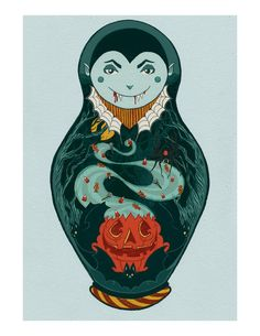 Halloween themed nesting doll art featuring Dracula Jr. with a jack-o-lantern, bats, and other spooky decorations. Digitally colored with Photoshop from an ink drawing. 8.5 by 11 prints are shipped flat priority with insurance and tracking provided.