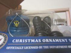 Department of Navy Christmas Ornament Set Cap Boots Officially Licensed Retired #KurtSAdler