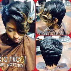 STYLIST FEATURE  Love this #pixiecut ✂️done by #DetroitStylist @KiaNicolHair on @faschaniecesta This cut is FIERCE and that pop of color is EVERYTHING #VoiceOfHair ========================= Go to VoiceOfHair.com ========================= Find hairstyles and hair tips! =========================