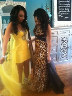 Cheetah print prom dress and high low prom dress