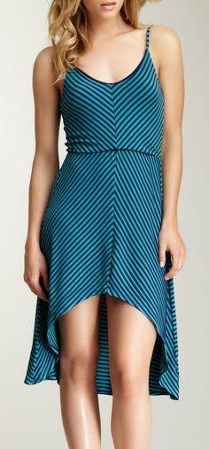 S.H.E. Mitered Striped Hi-Lo Hem Dress