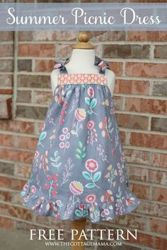 A New Summer Picnic Dress (The Cottage Home) a beautiful dress that would be simple to sew up for summer. The post A New Summer Picnic Dress (The Cottage Home) appeared first on Summer Diy. Dresses Kids Girl, Little Girl Dresses, Girl Outfits, Children Dress, Dress Girl, Children Clothes, Toddler Dress Patterns, Summer Dress Patterns, Skirt Patterns