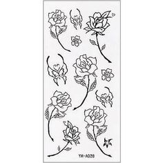 Simple Black Rose Tattoo Sticker - Polyvore Black Rose Tattoo For Men, Rose Tattoos For Men, Black Rose Tattoos, Tattoos For Guys, Cool Tattoos, Beauty And The Beast Tattoo, Tattoo Sticker, Wolf, Simple Tattoo Designs