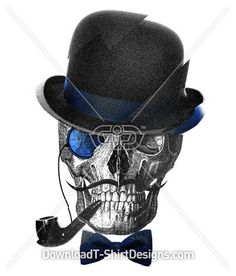 Skull Bowler Hat Pipe Moustache - Boys T-Shirt Designs