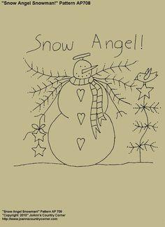 Snow Angel Snowman Primitive Stitchery by JoAnnCountryCorner Broderie Primitive, Primitive Stitchery, Primitive Patterns, Primitive Crafts, Primitive Snowmen, Primitive Christmas, Country Christmas, Wood Crafts, Snowman Patterns