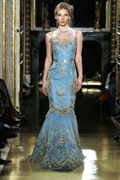 Embroidered beaded gorgeous blue gown