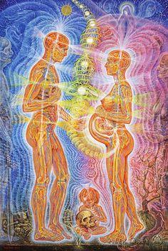 Alex Grey artwork- I love how he represents energies, so beautiful Alex Grey, Alex Gray Art, Psychedelic Art, Art Gris, Art Visionnaire, Psy Art, Art Graphique, Visionary Art, Sacred Art
