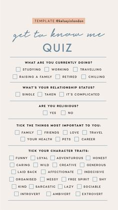 Personal Story Templates by Get To Know Me quizzes.
