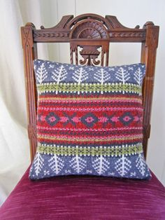 Norway has lots of traditional fairisle knitting patterns so I wanted to include… Fair Isle Knitting Patterns, Norwegian Wood, Patchwork Cushion, Back Pieces, Lace Knitting, Knitting Projects, Home Crafts, Cushions, Throw Pillows