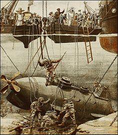 Bizerte (Ferryville) 1905 : naufrage du sous-marin Farfadet construit à Rochefort .http://milguerres.unblog.fr/bizerte-les-epopees-des-sous-marins-pares-pour-une-fin/