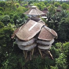 This incredible collection of villas, housed deep in the Balinese jungle, are made almost entirely of bamboo!